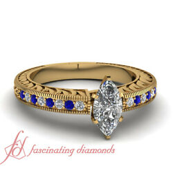Marquise Cut Vintage Engraved Pave Set Diamond Engagement Ring For Women 0.65 Ct