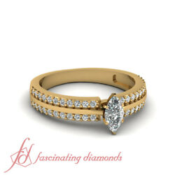 .70 Ct Marquise Cut Diamond Double Row Pave Set Engagement Ring In Yellow Gold