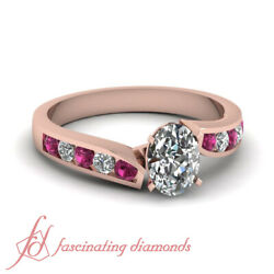 Channel Set 0.80 Ct Sapphire And Oval Shaped Twine Edged Rose Gold Diamond Rings