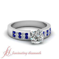 3/4 Carat Round Cut Diamond And Sapphire White Gold Double Row Engagement Ring