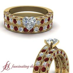 2.50 Ct Milgrain Style Heart Shaped Diamond And Ruby Bridal Set For Women GIA