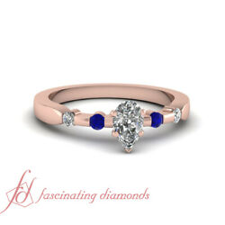 3/4 Carat Bezel Set Engagement Ring For Women With Pear Shape Diamond And Sapphire