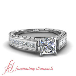 1.75 Carat Channel Set Diamond Rings Antique Inspired With Princess Cut Center