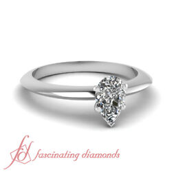 Knife Edge Solitaire Engagement Ring 1/2 Carat Pear Shaped Diamond Gia Certified