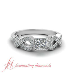 .70 Tcw. Princess Cut Si2-f Color Diamond Pave Set Engagement Ring Gia Certified