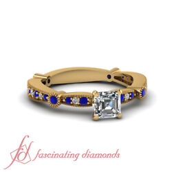 3/4 Ct Tapered Milgrain Pave Asscher Cut Diamond Engagement Ring With Sapphire