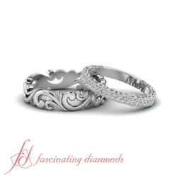 Antique Looking Cheap Wedding Rings Sets For Him And Her In Solid 14k White Gold