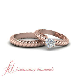 1/2 Ct Heart Shaped Solitaire Diamond His And Hers Rope Style Engagement Rings
