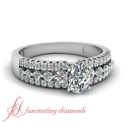1 Ct Oval Shaped Conflict Free Diamond Triple Row Womens Engagement Rings Gia