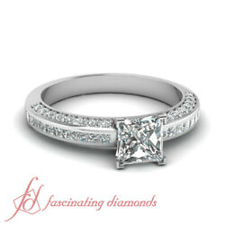 1 Carat Princess Cut Diamond Handmade Engagement Rings Channel And Pave Set Gia