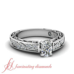 1 Ct Cushion Cut Diamond Vintage Antique Engagement Rings In 14k White Gold Gia