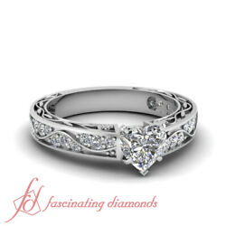 1.25 Ct Heart Shaped E-Color Diamond Shank Wave Engagement Ring Pave Set SI1 GIA