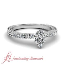 3/4 Carat Pear Shape Diamond Vintage Engraved Engagement Ring With Round Accents