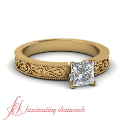 1/2 Carat Princess Cut Hand Engraved Solitaire Diamond Rings 18k Yellow Gold Gia