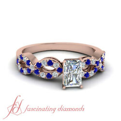 .90 Ct Radiant Cut Diamond And Sapphire Infinity Womens Gold Wedding Ring Sets Gia