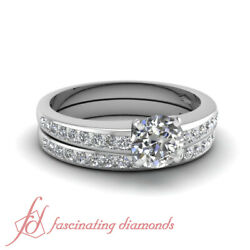Linear Shimmer 14k Gold Wedding Rings Channel Set 1 Ct Round Cut F-color Diamond