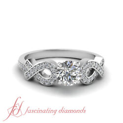 .70 Ct Round Cut Diamond Twin Entangled Engagement Ring Pave Set Gia Certified