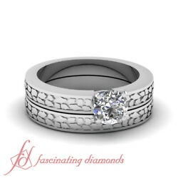 Half Carat Round Cut Diamond Antique Solitaire Ring And Matching Wedding Band