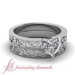 .50 Ct Heart Shaped Diamond Shamrock Carved Solitaire Wedding Rings Set Vs2 Gia