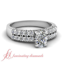 1.2 Ct Cushion Cut H-color Diamond Parallel Circles Engagement Ring 14k Gold Gia