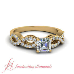 Pave Set Braided Womens Engagement Rings With Asscher Cut Diamond 3/4 Carat Gia