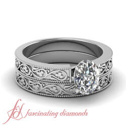 Shamrock Carved Solitaire Bridal Rings Set 1/2 Carat Oval Shaped Vs1 Diamond Gia