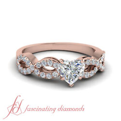 .80 Ct Rose Gold Heart Shaped Natural Diamond Braided Engagement Rings For Her