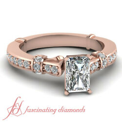 .90 Ct Diamond Rings Tilted Band Pave Set For Women With Radiant Cut And Round Gia