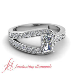 .70 Ct Radiant Cutvery Good Diamond Engagement Ring Pave Set 14k Gia Certified