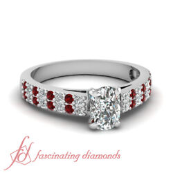 .80 Ct Cushion Cut Diamond And Ruby Two Row Engagement Ring Pave Set 14k Gold Gia