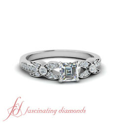 .70 Ct Asscher Cut And Round Diamond Engagement Ring Pave Set 14k White Gold Vvs1