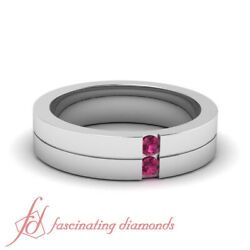 .10 Ct Comfort Fit Mens Pink Sapphire Wedding Ring Sold By Fascinating Diamonds