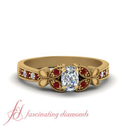 Half Carat Cushion Cut Diamond And Round Ruby Engagement Ring In 14k Yellow Gold
