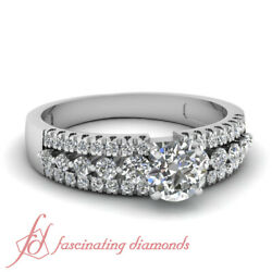 .90 Ct Round Cut Diamond Triple Row Pave Set Womens Engagement Rings Si1-e Color