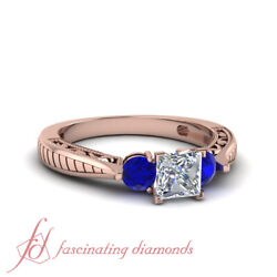 Three Stone Sapphire And Diamond Rings In Rose Gold With Princess Cut 0.90 Ct