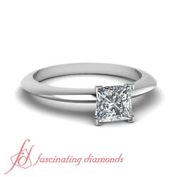 Knife Edge Solitaire Engagement Ring With Center Princess Cut Diamond 0.75 Ctw.