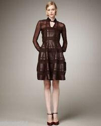 New Rare Valentino Runway Chocolate/brown Lamb Leather And Lace Dress Us 10/l-xl