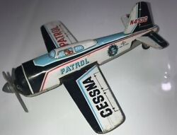 Vintage Cessna Patrol P.d. Tin Wind-up Plane Sold Not Working Missing Wheel Also
