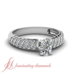 .65 Ct Cushion Cut Diamond Pave Set Rope Design Engagement Rings Sets For Women