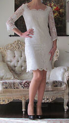 New Rare Emilio Pucci Runway White,full In Lace,lined Dress It 40,us 4-6,xs-s