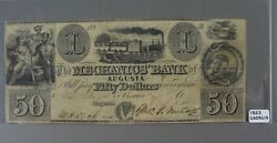1853 The Mechanic's Bank Of Augusta Georgia Fifty Dollar Bill Obsolete Currency