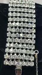 Vintage Estate Slver Art Deco High End Rhinestone 7 Row Bracelet
