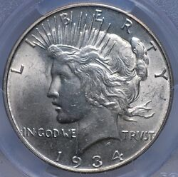 1934 D Peace Dollar Pcgs Ms 62 Flashy White Luster And Looks Choice