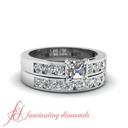 1 Tcw. Asscher Cutvery Good Diamond Wedding Rings Channel Set Vs1 F-color Gia