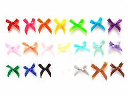 100 pcs Mix assorted colors tiny mini ready made Satin BOW Ribbons Decoration