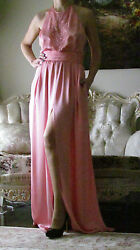 Emilio Pucci Runway Pink Silk Long,beaded,lined Open Dress It 42,us 6-8,uk 10