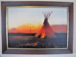 R Tom Gilleon Red Day Butte 2/45 Giclee Canvas Native American Framed Tipi