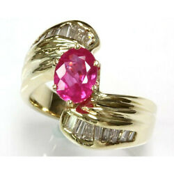 2.1 Ct Tw Natural Pink Sapphire And Diamond Solid 14k Yellow Gold Engagement Ring