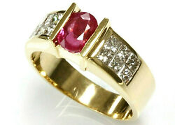 1.9 Ct Tw Natural Red Ruby And Diamond Solid 14k Yellow Gold Engagement Ring