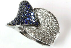 2.35 Ct Natural Blue Sapphire And Diamond 14k Solid White Gold Leaf Cocktail Ring